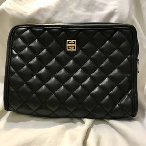 Givenchy Black Quilt Makeup/Clutch with Gold Logo